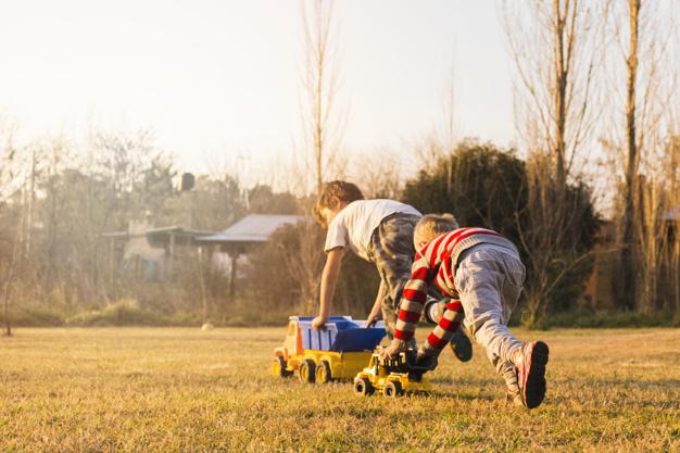 twee jongens met speelgoed op het gras